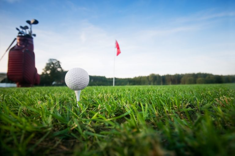 Golf gear on the golf field